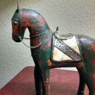 Vintage Artisan Folk Art Hand Ceramic Brass Horse Figurine Statue Decor India