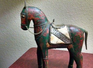 Vintage Artisan Folk Art Hand Ceramic Brass Horse Figurine Statue Decor India