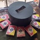VTG Poker Chips Wooden Holder Rotating Carousel w/cover and metal handle FULL