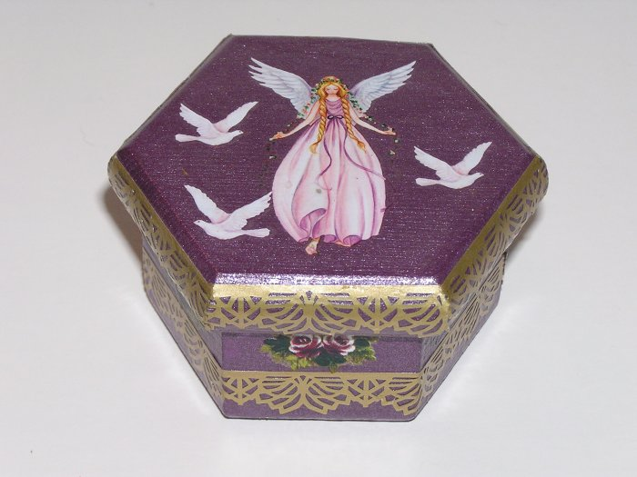 Purple Hand painted Angel themed Jewelry Box