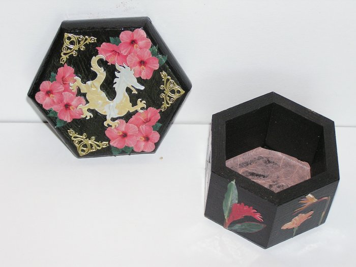 Asian Themed Black hand painted Jewelry Box