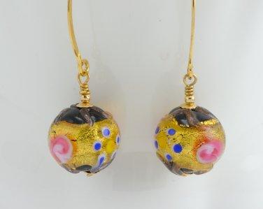 Beautiful OOAK Murano (Italy) Glass Lampwork Earrings Gold Filled Handmade