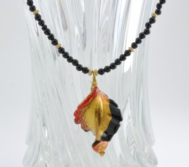 Unique OOAK Genuine Murano and Black Onyx Pendant Necklace Gold Filled