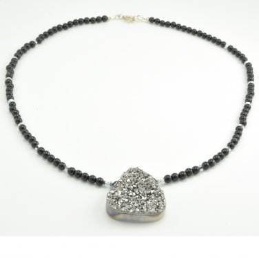 Elegant one-of-a-kind Sterling Silver Druzy and Black Onyx necklace Handmade