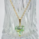 Genuine Murano (Italy) Golden Light Green Heart Pendant and Gold Filled Chain