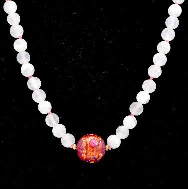 Matte Rose Quartz and Murano Glass Sterling Silver Necklace