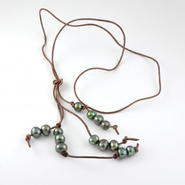 Freshwater Pearls Brown Leather Long Necklace