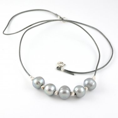 Freshwater Pearls and Silver Leather Sterling Silver Necklace