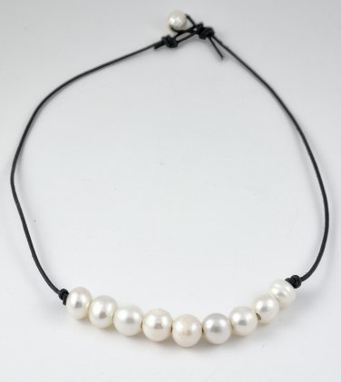 Black Leather and Freshwater Pearls Necklace