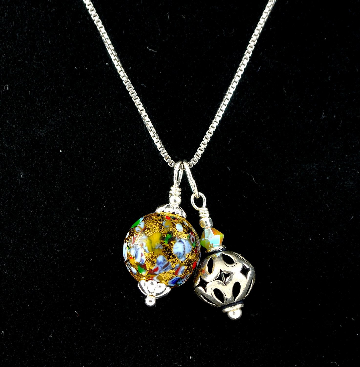 Sterling Silver Murano Glass and Swarovski Crystal Double Pendant with Chain