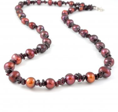 Garnet, Freshwater Pearls and Sterling Silver Necklace
