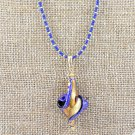 OOAK Lapis Genuine Murano Glass Necklace Pendant Gold Filled