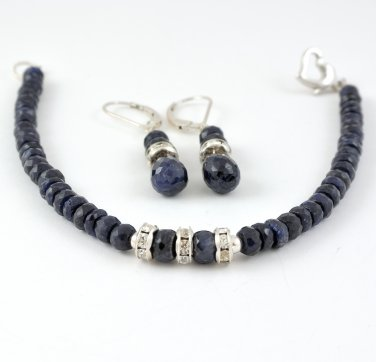 Genuine Sapphire and Swarovski Crystals Sterling Silver bracelet and earrings set