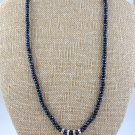 Genuine Sapphire and Swarovski Crystals Sterling Silver Necklace, bracelet and Earrings Set