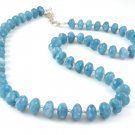 Angelite and Swarovski Crystals Sterling Silver necklace