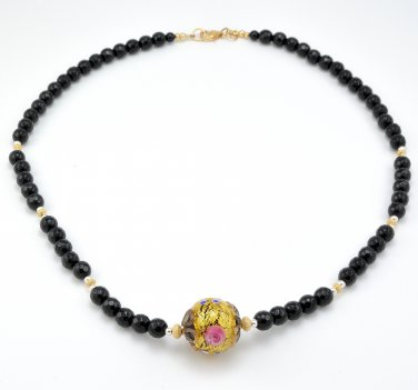 Black Onyx and Genuine Murano Glass Lampwork Gold Filled Sterling Silver Necklace