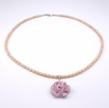 Freshwater Pearl Sterling Silver Murano Glass Rose Pendant and Necklace