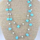 Aqua Blue Quartz Sterling Silver Necklace