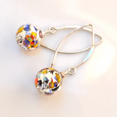 Genuine Murano (Italy) Glass Earrings Sterling Silver Handmade