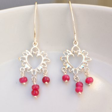 Ruby Sterling Silver Earrings