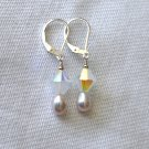 Freshwater Pearls/Swarovski Crystals Sterling Silver Leverback Earring