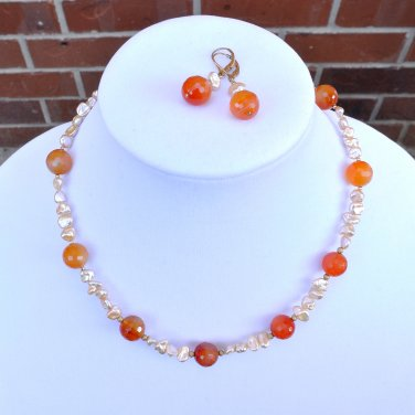 Carnelian and Keshi Pearls  Necklace and Earring Set Gold Filled