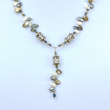 OOAK Keshi Pearls with Swarivski Crystals and Bali Silver necklace
