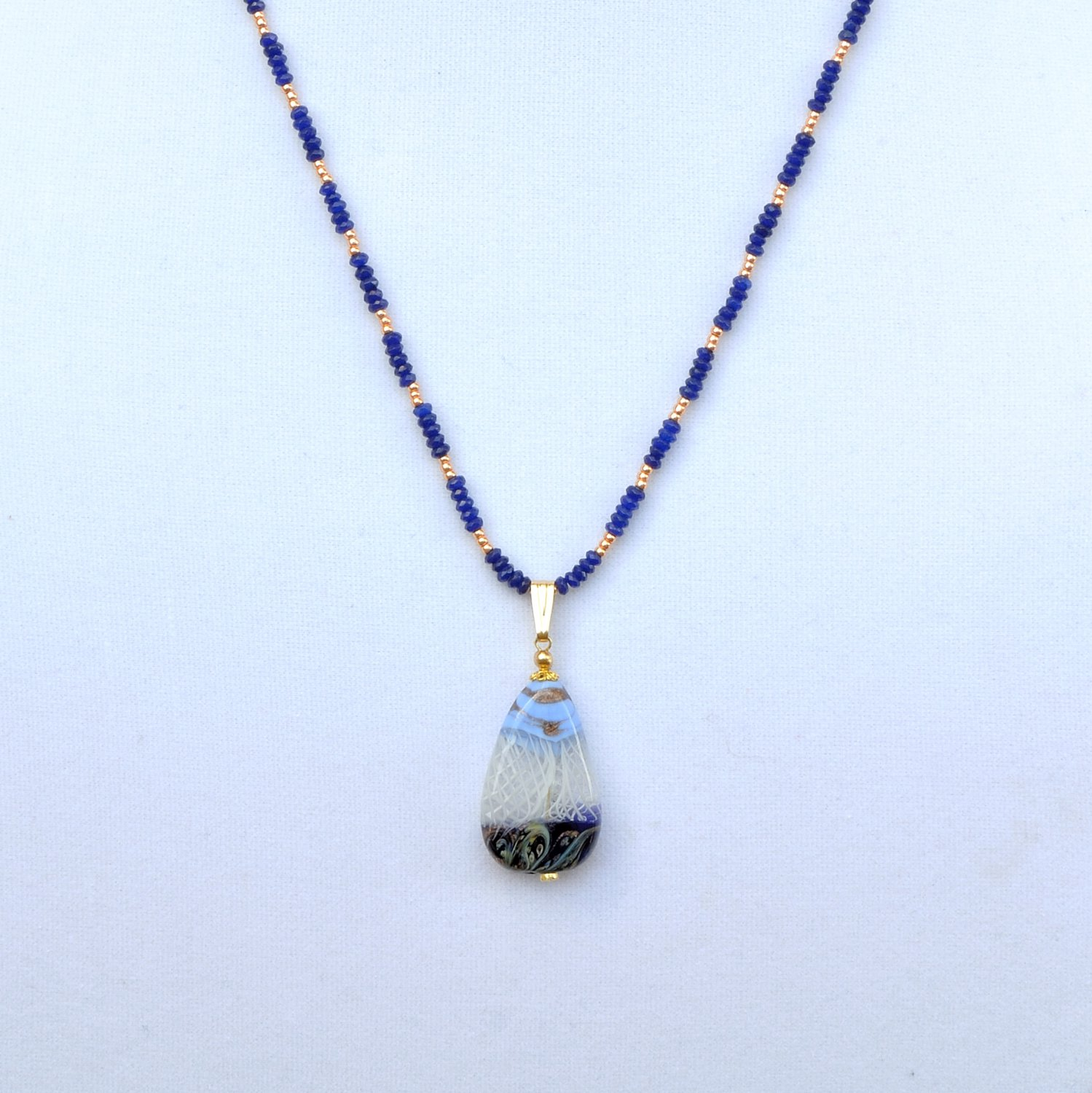 OOAK Blue Jade and Genuine Murano Glass Necklace Pendant Gold Filled