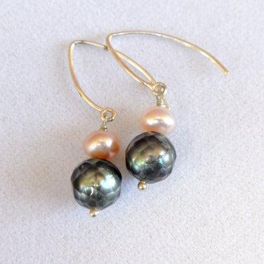 OOAK Freshwater Faceted Pearls earrings