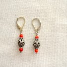 Coral Filigree Sterling Silver Leverback Earring