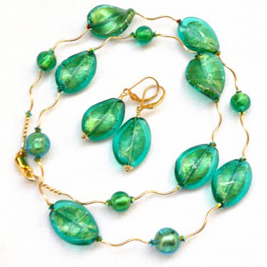 OOAK Necklace and Earrings Set Genuine Murano Glass Gold Filled