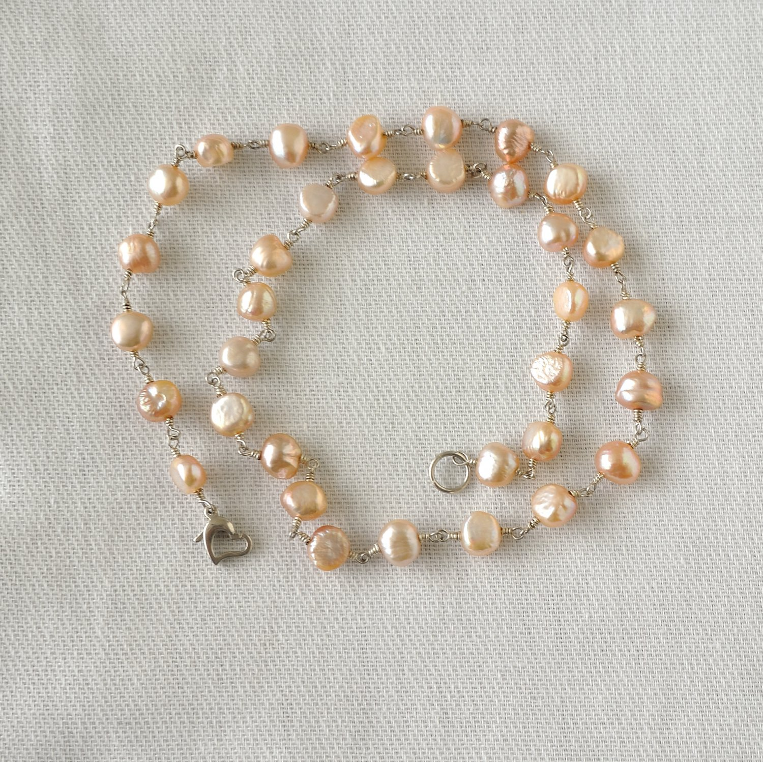 OOAK  Freshwater Pearls Sterling Silver Necklace
