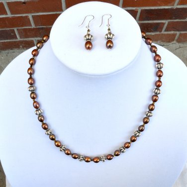OOAK  Freshwater Pearls Sterling Silver Necklace and Earrings Set