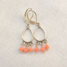 Pink Coral Chandelier Sterling Silver Leverback Earring