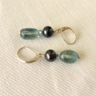 Fluorite Freshwater Pearl Sterling Silver Earrings
