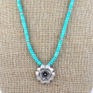 Bali Silver Flower Pendant and Turquoise Sterling Silver Necklace