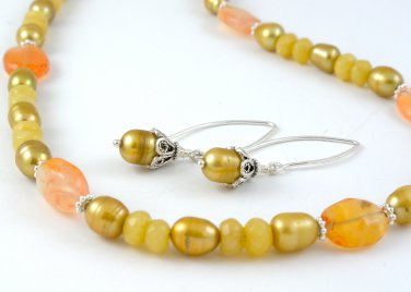 Carnelian Yellow Jade Freshwater Pearls Sterling Silver necklace and earrings set