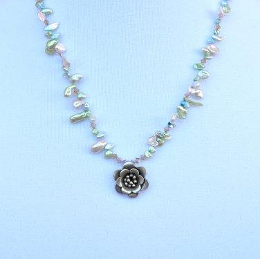 OOAK Keshi Pearls with Swarivski Crystals Necklace and earrings set