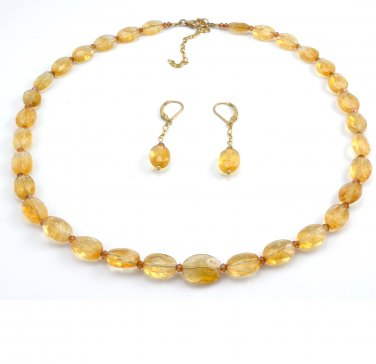 Necklace and Earring Set Citrine Swarovski Crystals Gold Filled