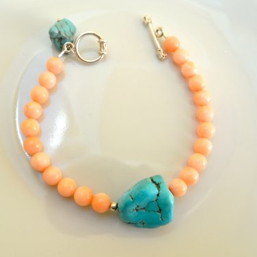 Coral and  Turquoise Sterling Silver bracelet