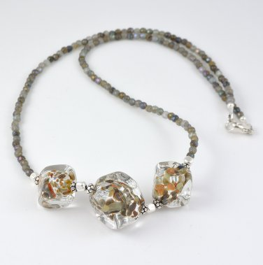 Murano Glass and Labradorite Sterling Silver Necklace