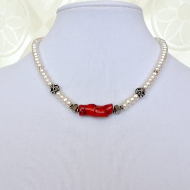 Red Coral, Freshwater Pearls and Sterling Silver Necklace
