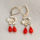 Coral FlowerSterling Silver Leverback Earring