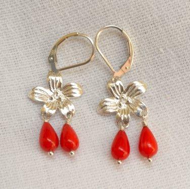 Coral FlowerSterling Silver Leverback Earring
