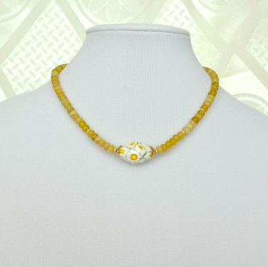 Yellow Opal and Genuine Murano Glass Lampwork Gold Filled Necklace