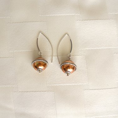 Sterling Silver and Copper Ball Earrings