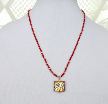 Genuine Murano Glass Pendant and Red Coral Gold Filled Necklace