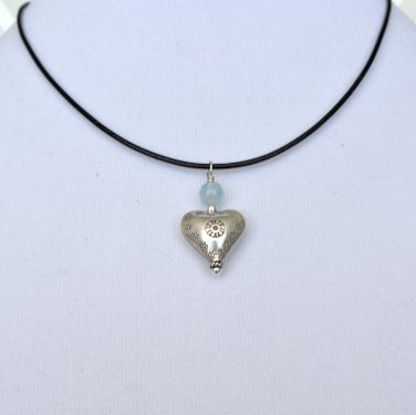 Hill Tribe Silver Heart Pendant with Aquamarine and Sterling Silver and Leather Necklace