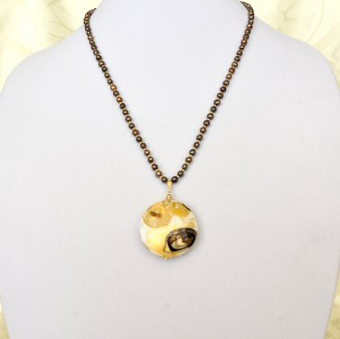 Freshwater Pearl Genuine Murano Glass Gold Filled OOAK Necklace Pendant