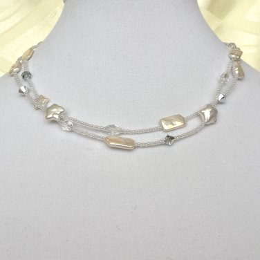Freshwater Pearls Swarovski Crystals Long Necklace